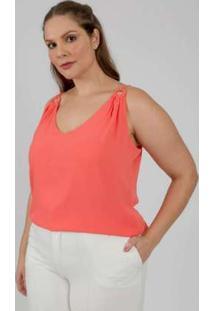 Regata Almaria Plus Size Lady More Crepe Liso Coral Laranja