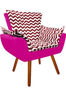 Poltrona Decorativa Opala Suede Composê Estampado Zig Zag Vermelho D79 E Suede Pink - D'Rossi