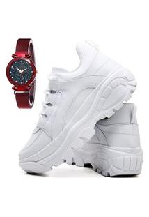 Tênis Sapatênis Casual Plataforma Fashion Com Relógio Chili Feminino Dubuy 728El Branco