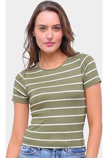Blusas Lecimar Canelada Listrada Amarração Feminina - Feminino-Verde Escuro
