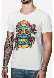 Camiseta Hermoso Compadre Sugar Skull Masculina - Masculino-Branco