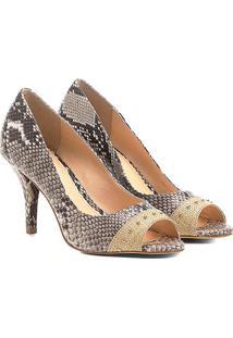 e58a6d9fe ... Peep Toe Couro Shoestock Salto Fino Cobra Ráfia
