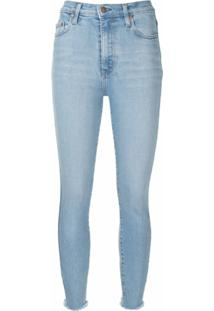 Nobody Denim Calça Jeans Skinny Cropped Com Barra Desfiada - Azul