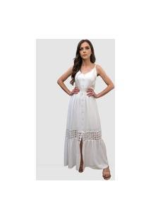 Vestido Hora De Diva Longo Com Guipir Rodado Branco.