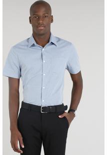Camisa Masculina Comfort Estampada Com Bolso Manga Curta Azul Claro