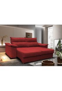 Sofá Retrátil E Reclinável 2,30M Com Molas Cama Inbox Horus Tecido Suede Vermelho