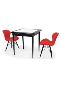 Conjunto Mesa De Jantar Em Madeira Preto Prime Com Azulejo + 2 Cadeiras Slim - Vermelho