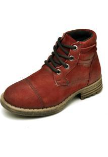 Bota Couro Dr Shoes Recortes Bordô