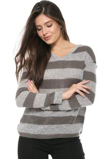 Blusa Tricot Facinelli By Mooncity Listras Cinza
