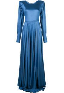 Lemaire Vestido Longo Acetinado - Azul