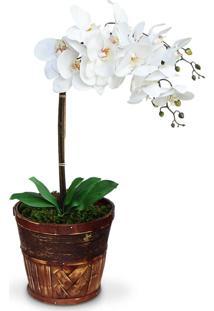Arranjo De Flores Artificiais Felicitadecor Orquideas Brancas Cachepot De Madeira Marrom