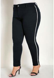 Calça Preta Plus Size Com Faixas Laterais