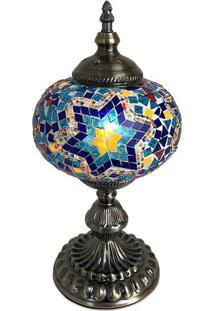 Abajur Decorativo Estilo Turco Azul