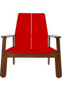Poltrona Paleta Estrutura Cacau Acabamento Vermelho 88Cm - 61082 - Sun House