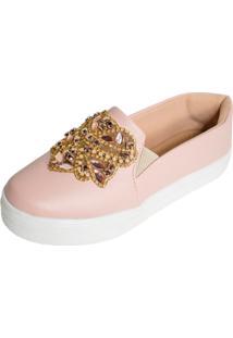 Tenis Hope Shoes Slipper Com Detalhe Em Pedraria Rosa - Kanui