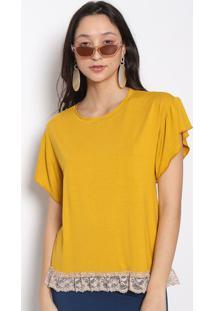 Blusa Com Renda- Amarelo Escuro- Vittrivittri