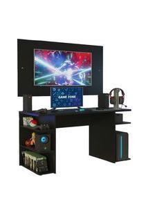 Mesa Gamer Madesa 9409 E Painel Para Tv Até 58 Polegadas Preto Preto