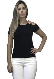 Camiseta Hifen Com Abertura No Ombro Preto