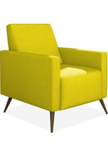 Poltrona Decorativa Para Sala De Estar Pés Palito Liz Suede Amarelo - Lyam Decor