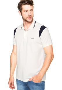 Camisa Polo Colcci Brasil Recortes Off-White