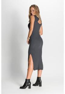 Vestido Midi Tasha Com Botões - Feminino-Chumbo