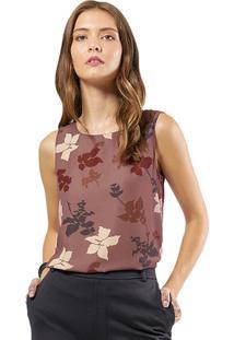 Blusa Mx Fashion Estampada Carlyn Marrom