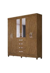 Guarda Roupa Casal Avaí 6 Portas E Espelho Castanho Wood - Moval