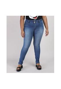 Calça Jeans Feminina Plus Size Sawary Super Skinny Cintura Alta Azul Médio