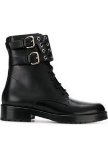 Red Valentino Ankle Boot De Couro Com Fivela - Preto