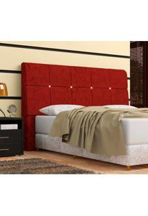 Cabeceira Pietra Casal 140 Cm Com Baú Interno Suede Amassado Vermelho - Ds Móveis