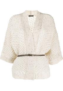 Peserico Belted Open-Knit Cardigan - Neutro