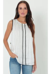 Blusa Listrada Com Botão - Preta & Branca- Ennaenna