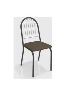 Kit 2 Cadeiras Noruega Preto Fosco De Metal Marrom Kappesberg