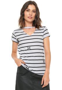 Camiseta Fiveblu Choker Estampada Branca