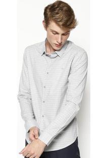 Camisa Slim Fit Geomã©Trica - Cinza Claro & Pretacalvin Klein
