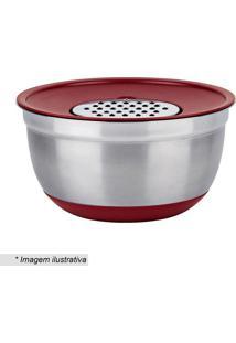 Jogo De Bowls Com Raladores German- Inox & Vermelho-Euro Homeware