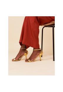 Amaro Feminino Sandália Salto Fino Metalizada, Dourado