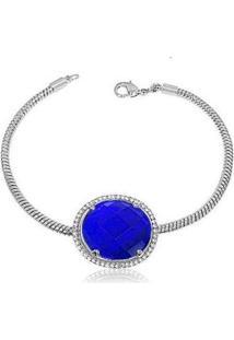 Pulseira Luxo Ródio Com Pedra Safira Semijoia Lys Lazuli Feminina - Feminino