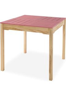 Mesa Para Cozinha De Madeira Maciça Taeda Com Tampo Colorido Olga Verniz Natural E Rosa Coral 80X80X75Cm