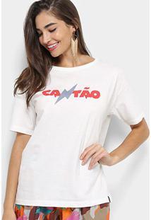 Camiseta Cantão Na Lua Feminina - Feminino-Off White
