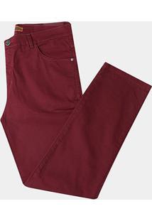 Calça Preston Sarja Plus Size - Masculino-Vinho