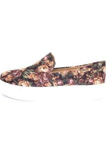 Tênis Slip On Quality Shoes Flatform Floral Feminino - Feminino-Preto+Salmão