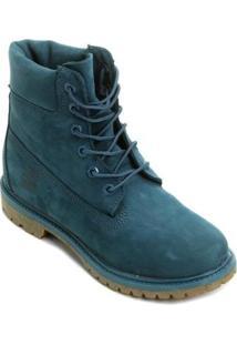 Bota Couro Cano Alto Timberland 6 Pol. Premium Feminina - Feminino-Azul Petróleo