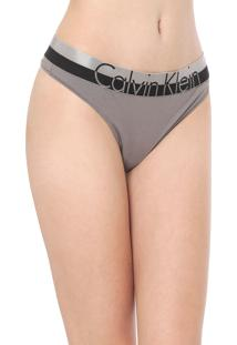 Calcinha Calvin Klein Underwear Fio Dental Lettering Grafite