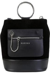 Bolsa Couro Ellus Saco Bucket Bag Argola Feminina - Feminino-Preto
