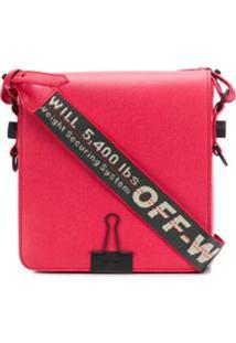 Off-White Bolsa Transversal Com Logo - Vermelho