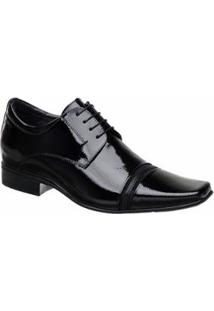 Sapato Social Em Couro Masculino Com Cadarço Jota Pe - Masculino-Preto