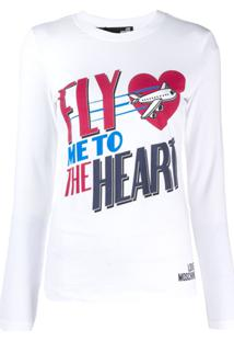 Love Moschino Blusa Fly Me To The Heart De Jersey - Branco