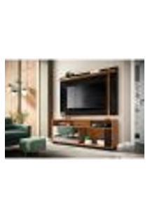 Rack Com Painel Extensível Para Tv Até 60 Polegadas Leme I Noce Milano E Preto Fosco 180 Cm