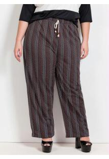 Calça Pantalona Étnica Com Cadarço Plus Size